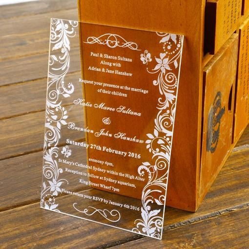 Royal Wedding Invitations Engraved Butterflies Acrylic Wedding