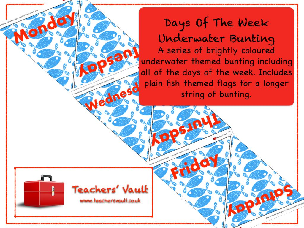 Days Of The Week Underwater Bunting Display - EYFS, KS1, KS2 Themed Maths Teaching Resources and Displays