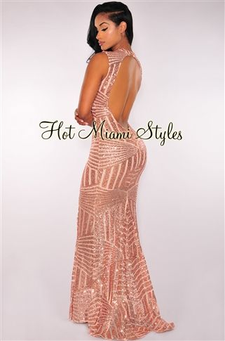 Rose Gold Sequins Open Back Maxi Gown Womens clothing clothes hot miami  styles hotmiamistyles hotmiamistyles.com sexy club wear evening clubwear  cocktail ... 548aa3eacbc9
