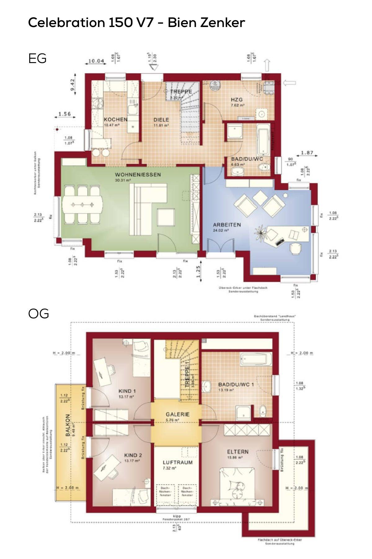 grundrisse satteldach haus mit galerie und erker 5 zimmer 150 qm wohnfl che grundriss. Black Bedroom Furniture Sets. Home Design Ideas