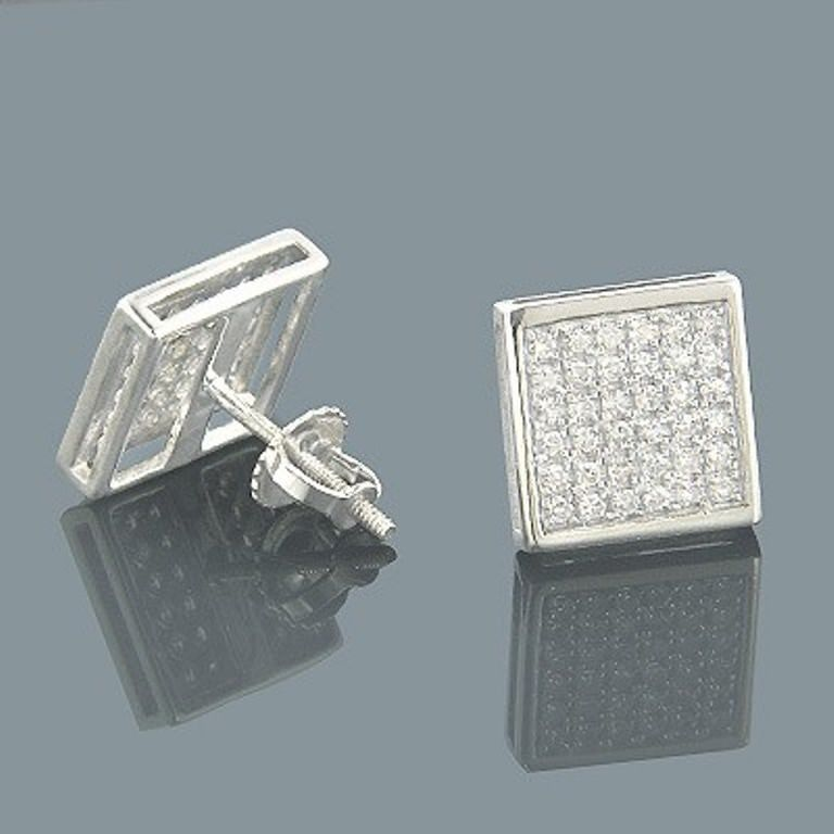 Mens Womens 14k White Gold Over Screw Back Square VVS1 Diamond Stud Earrings