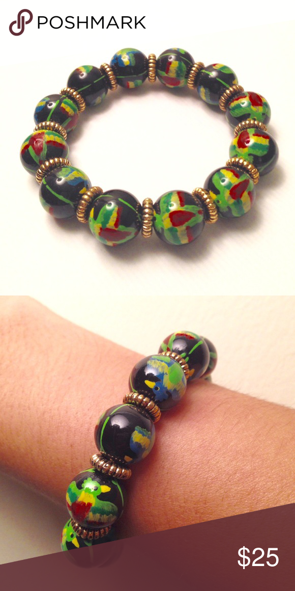 Angela Moore Hand Painted Bead Bracelet Authentic With Beads Black Colorful Toucans On