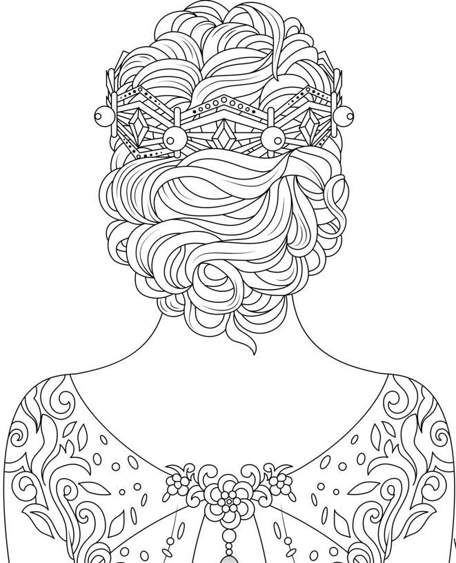 Beautiful hair and dress to color using Color Therapy App