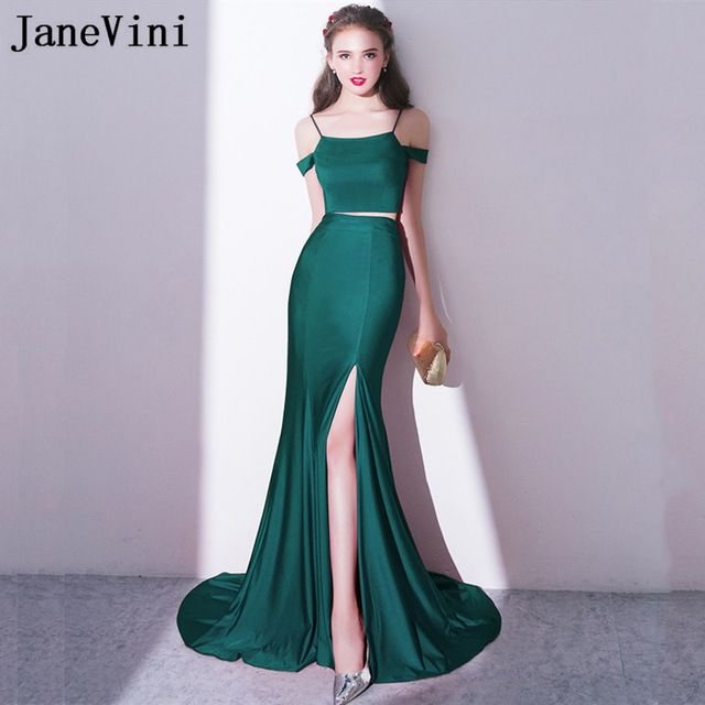 af420a4d175 JaneVini Sexy Two Pieces Sisters Mermaid Bridesmaid Dress Long Split Wedding  Guest Party Dresses Sweep Train Robe De Marier 2018