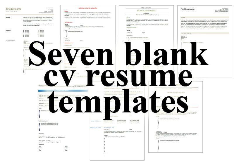 seven_blank_cv_resume_templates Free printable resume