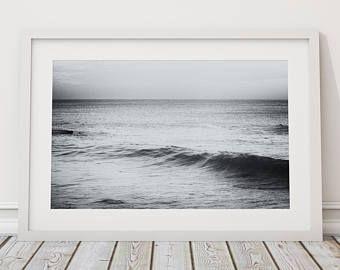 MODERN BLACK WHITE SURFING SURFER ART PRINT Poster Beach Decor Wall Photograph