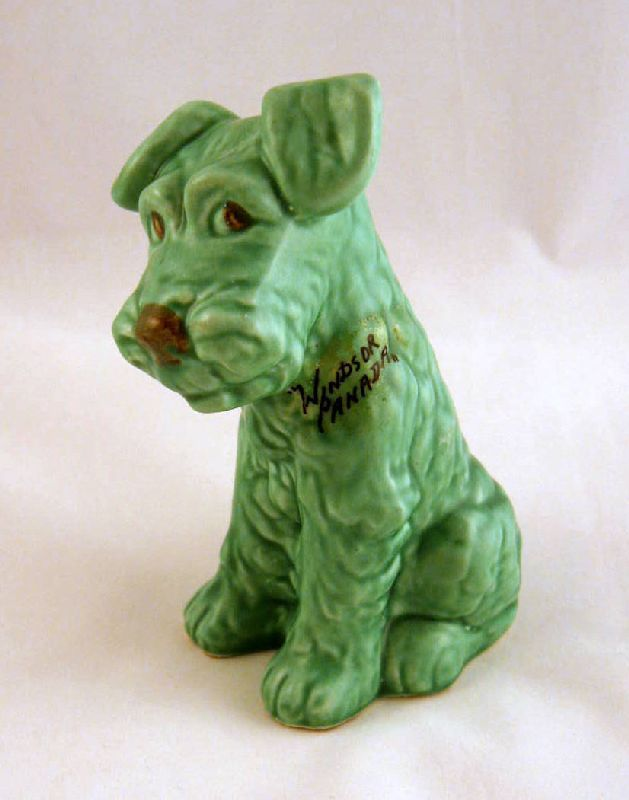 SylvaC England Matt Green Dog #1378 from Grapenut Glitz on Ruby Lane