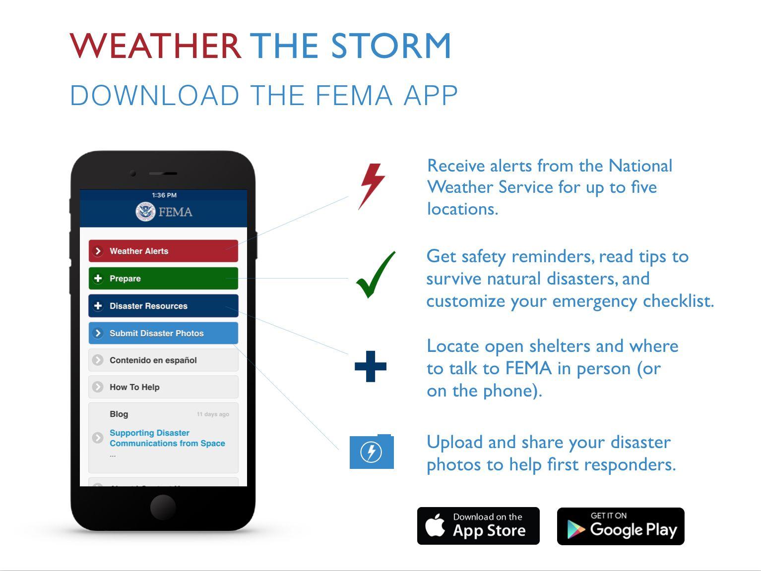 Fema App Infographic Hurricane Season Natural Disasters Weather Alerts