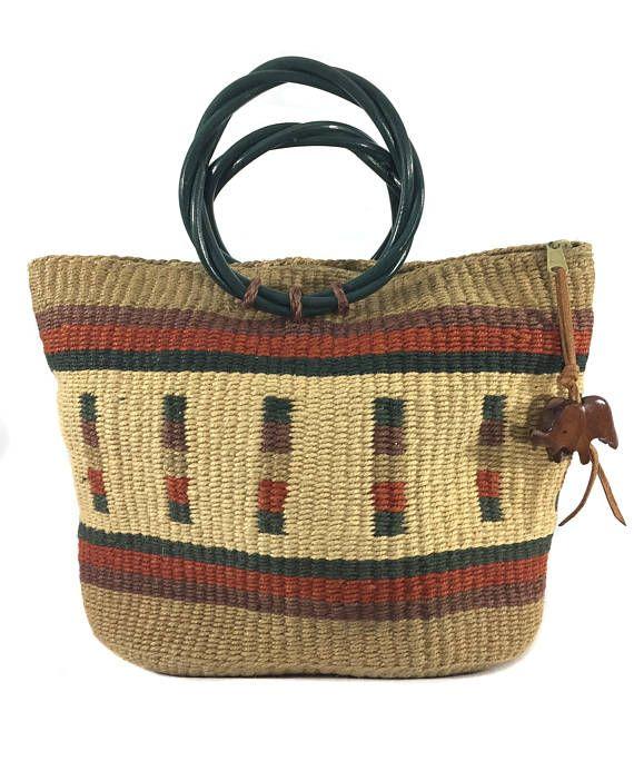 Vintage sisal sixties vintage handbag purse brown handbag