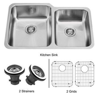 Vigo VG3221LK1 32 Inch Double Basin Undermount Stainless Steel Kitchen Sink with Two Sink Grids and Two Basket Strainers - FaucetDirect.com BEST price