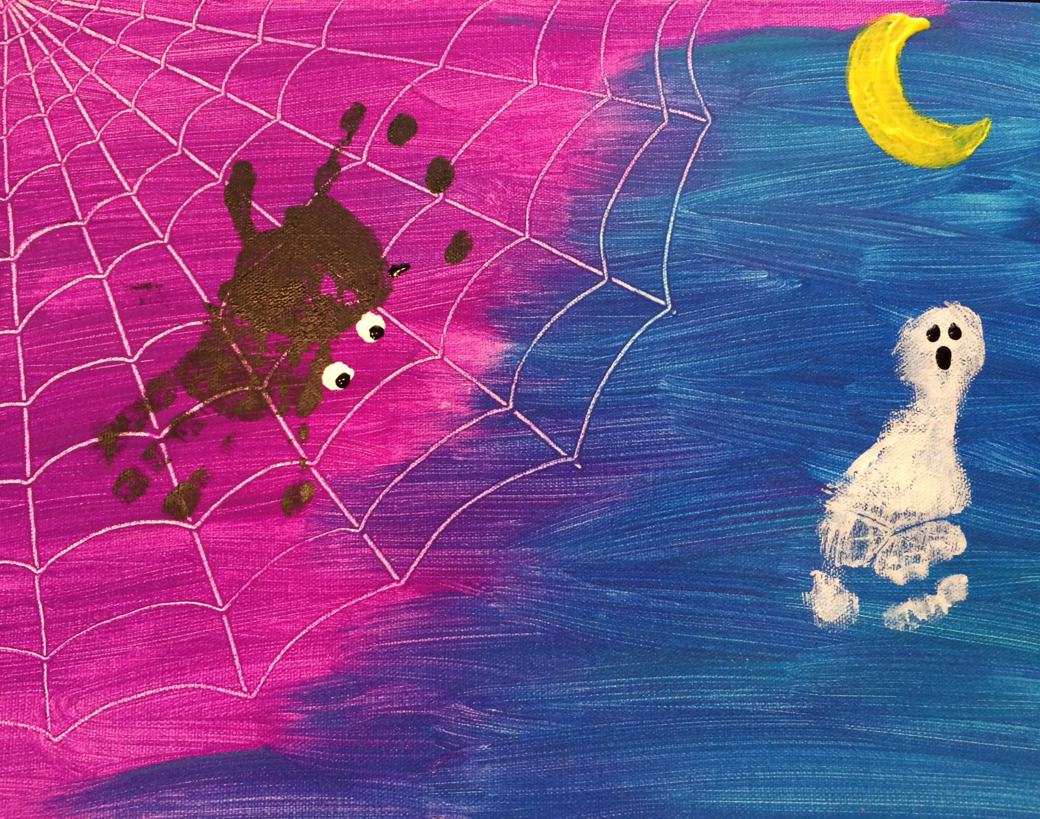 Drawing Straight Lines With Brush In Photo : Halloween. add a few drops of two night time paints and brush on