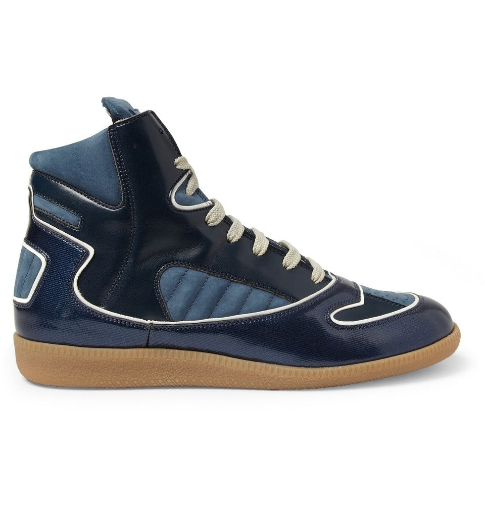 Maison Martin Margiela - Panelled Leather and Suede High Top Sneakers - 395467