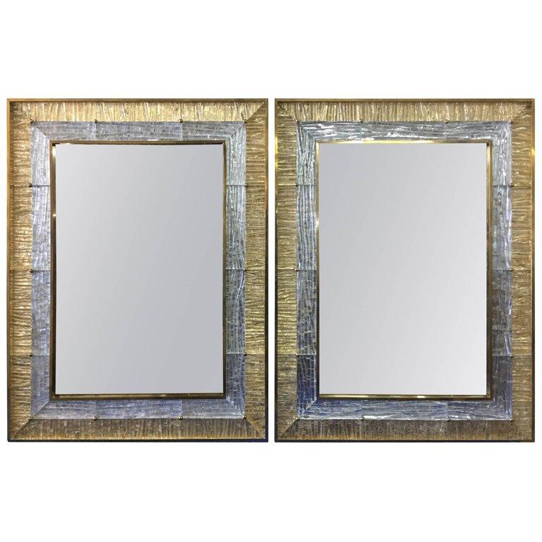 Silver Flake Murano Framed Wall Mirror, Silver Mirror Frame A4