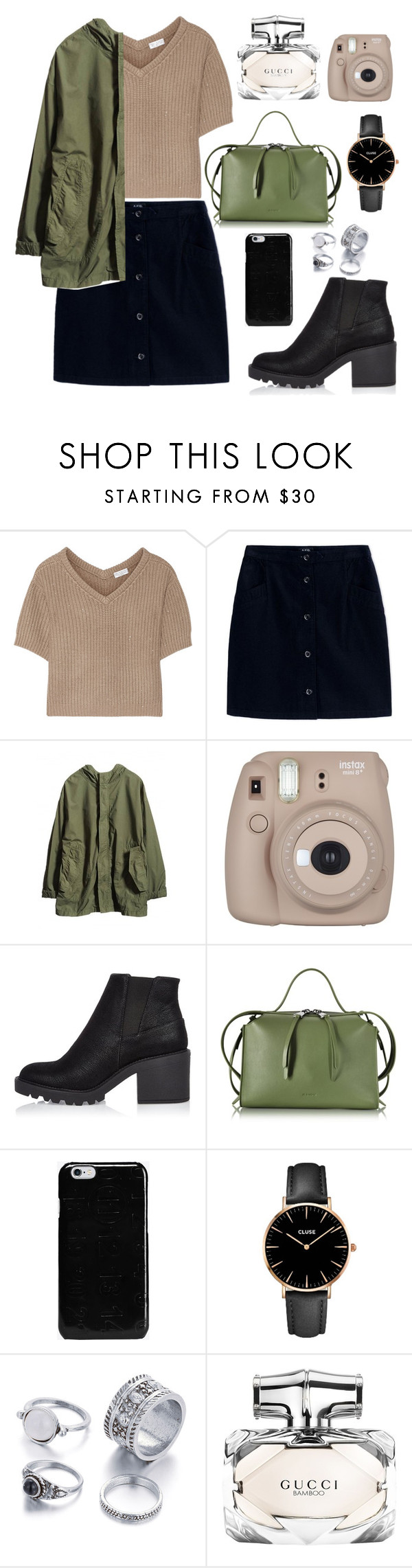 """Untitled #20"" by peachiez ❤ liked on Polyvore featuring Brunello Cucinelli, A.P.C., Fujifilm, River Island, Jil Sander, Maison Margiela, CLUSE and Gucci"