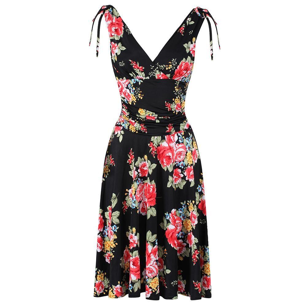 Black Floral Print Wrap Top Deep V Neck 50s Swing Dress In
