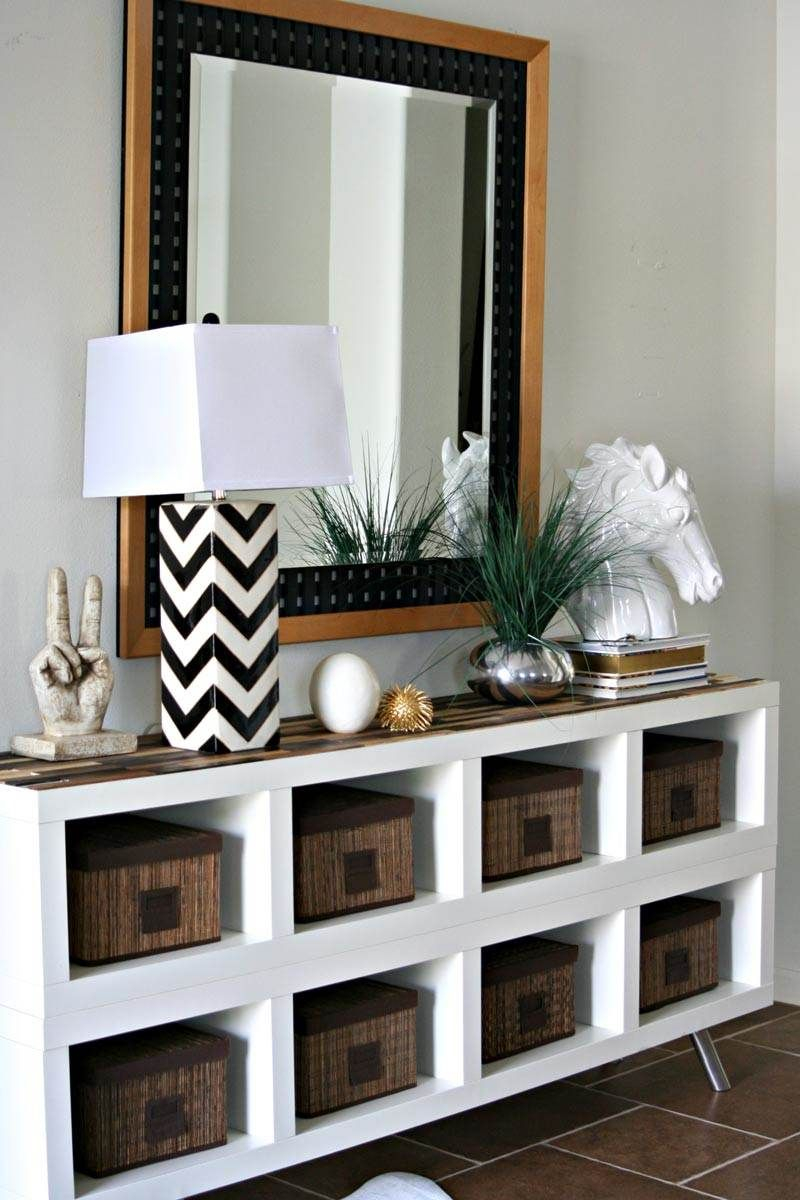 See 20 of the best Ikea Kallax Hacks ideas and the different ways you can DIY them for your home. This ikea hack is a perfect storage solution for an entryway.