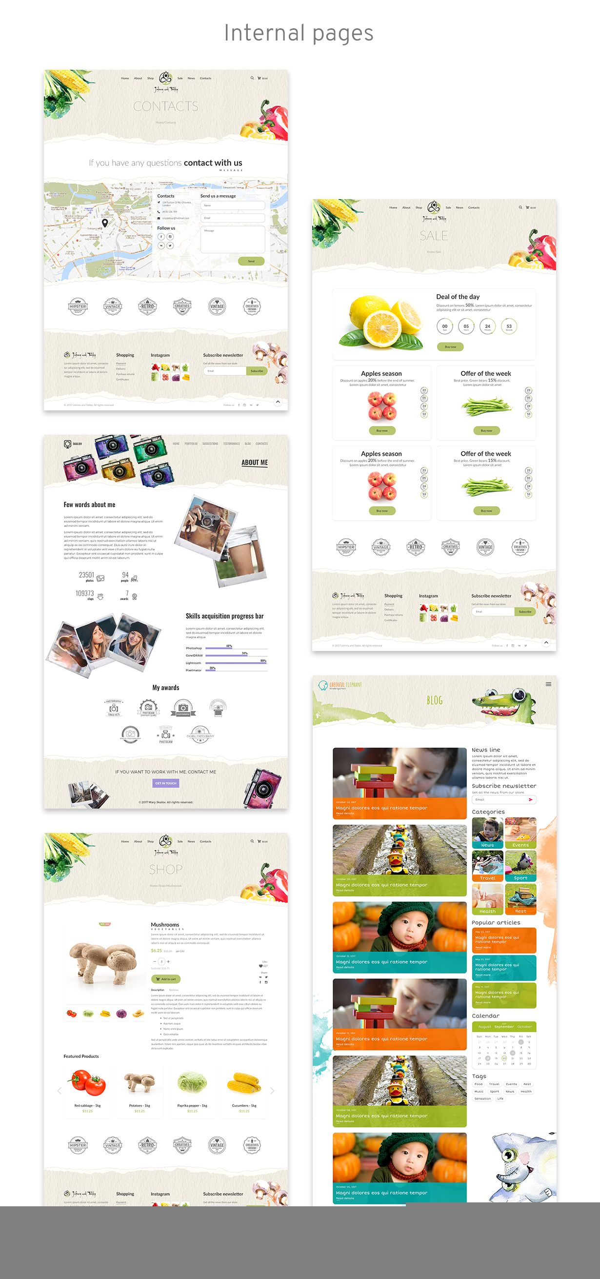 Aquarelle Healthy Food Market Kindergarten Portfolio Restaurant Html Template