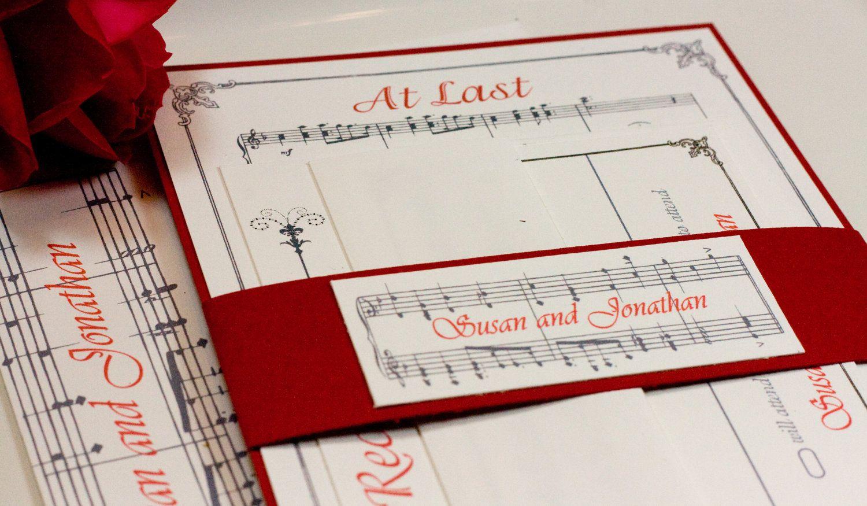 Vintage Style Romantic Music Notes Wedding Invitation Suite SAMPLE ...