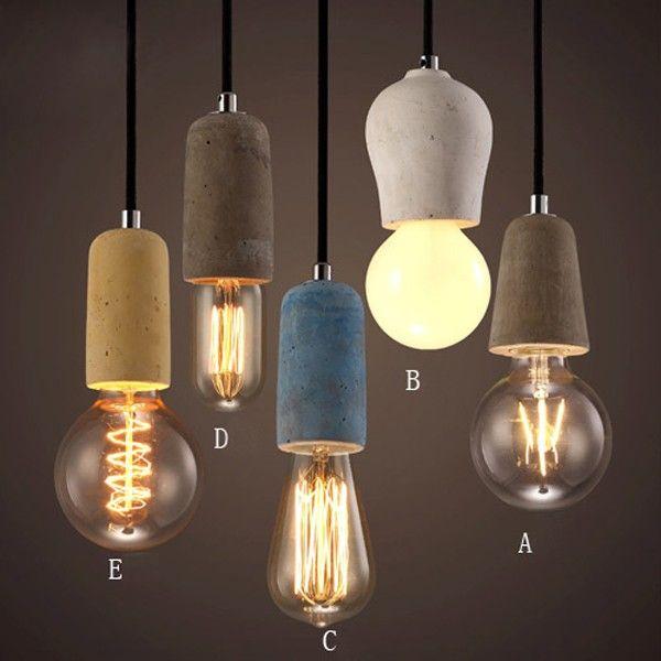 rustic concrete exposed edison bulb mini pendant light fixture pendant lights ceiling lights - Edison Bulb Pendant