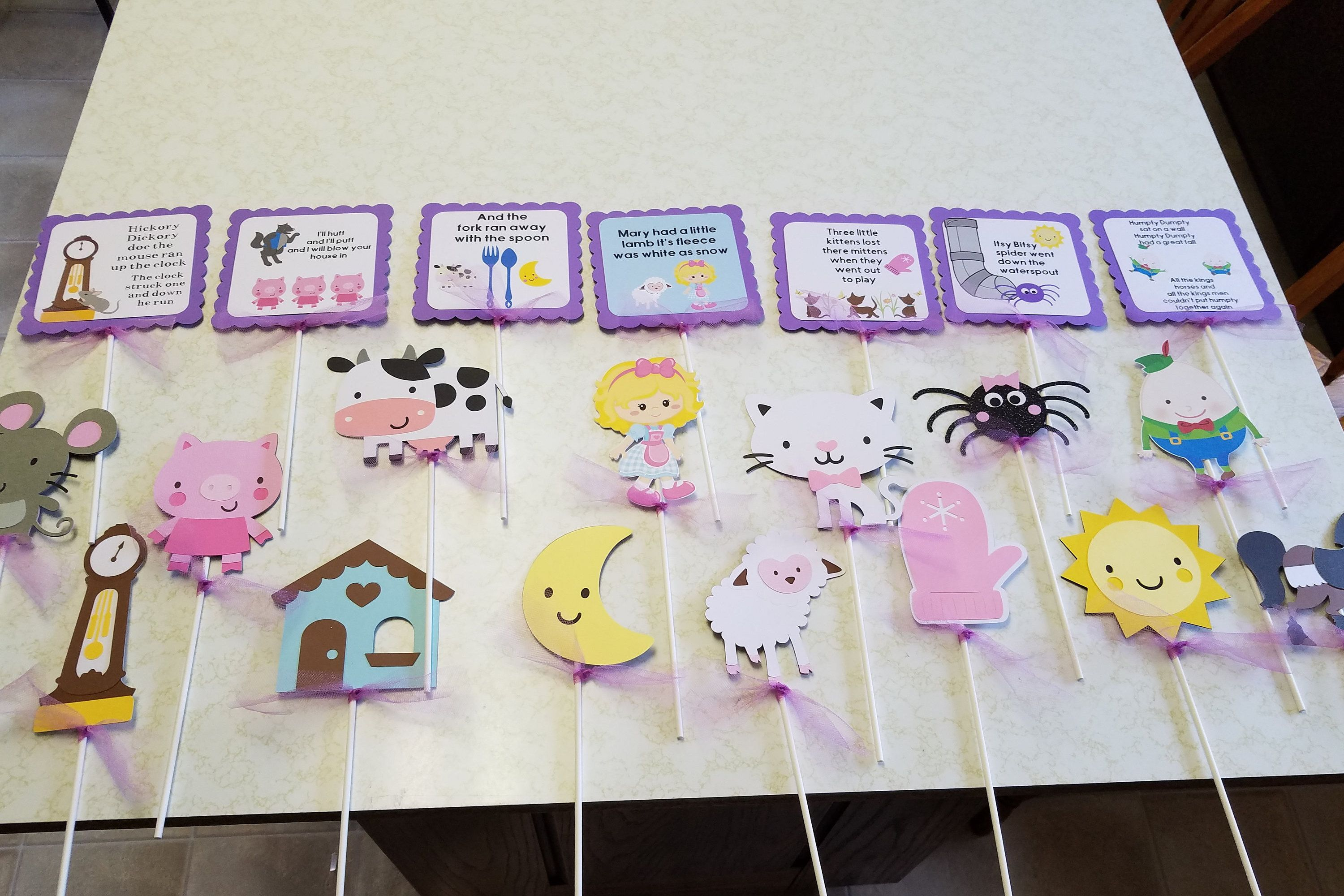 Nursery Rhyme Centerpiece Sticks Nursery Rhyme Happy Birthday Banner Nursery Rhyme Baby Shower Decorations Nursery Rhyme Party Nursery Rhyme Party Baby First Birthday Party Themes For Boys