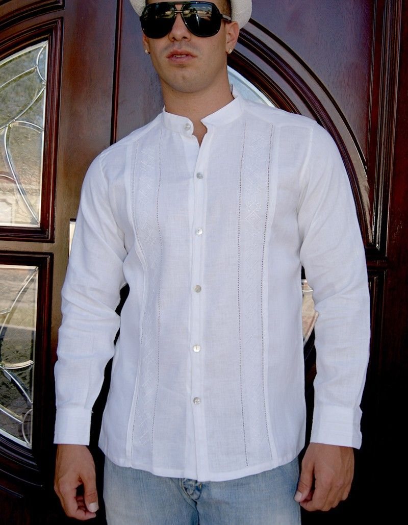 f015096b65 Formal Design Guayabera. Natural embroidery. Hidden Button. Handmade.