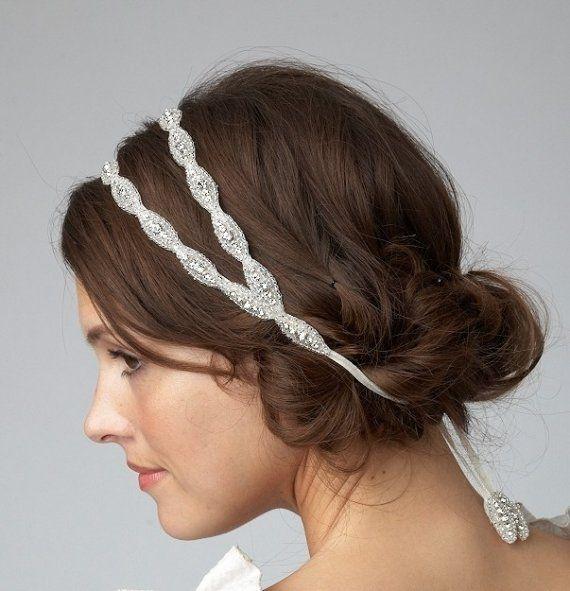 READY TO SHIP Poppy Double Headband Bridal Rhinestone Beaded Or Halo
