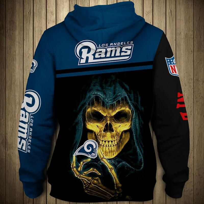 new style 0d4c4 1746f Los Angeles Rams Hoodie 3D cheap Skull Sweatshirt Pullover ...