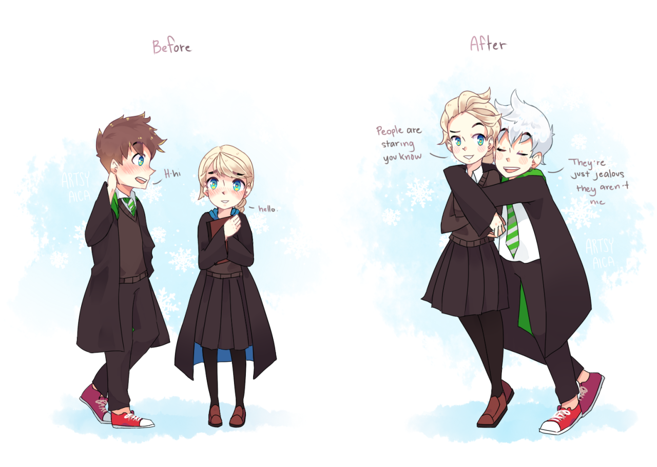 My headcanon where Jack and Elsa were too shy to talk to each other without blushing when they first met and eventually progressed enough to be shamelessly lovey-dovey even with people watching.hogwarts auDA Post