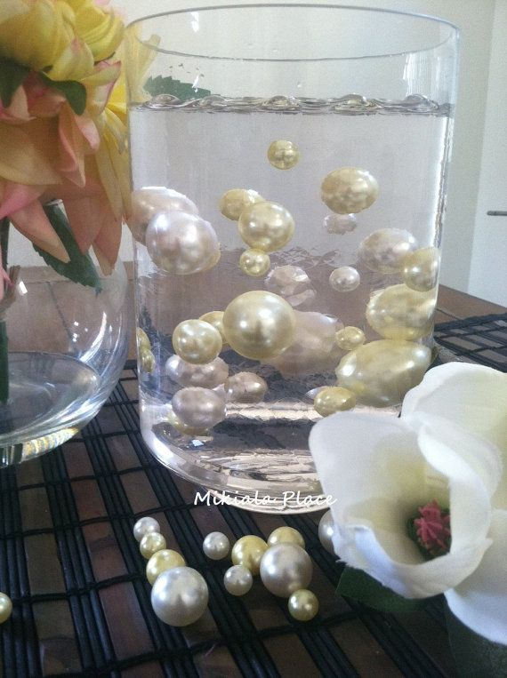 Elegant Floating Jumbo Pearls Vase Filler Jumbo Pearls Ivorylight