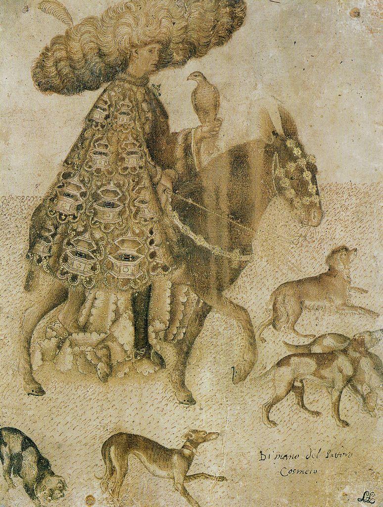 Pisanello - A Prince of the family Este as falconer   Medieval art,  Renaissance art, Medieval horse