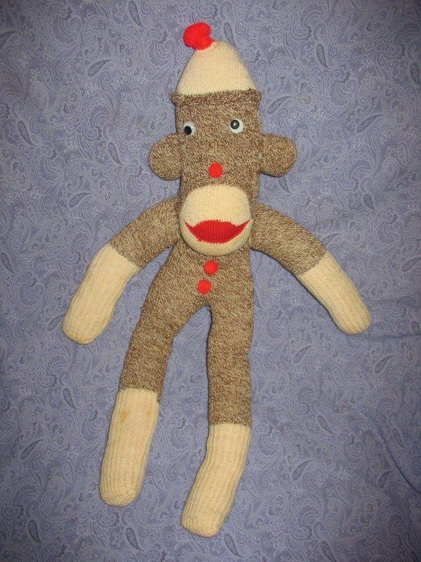 Vintage Handmade Folk Art Red Heel Sock Monkey Poor Little Sammy No Tail J4 C   eBay