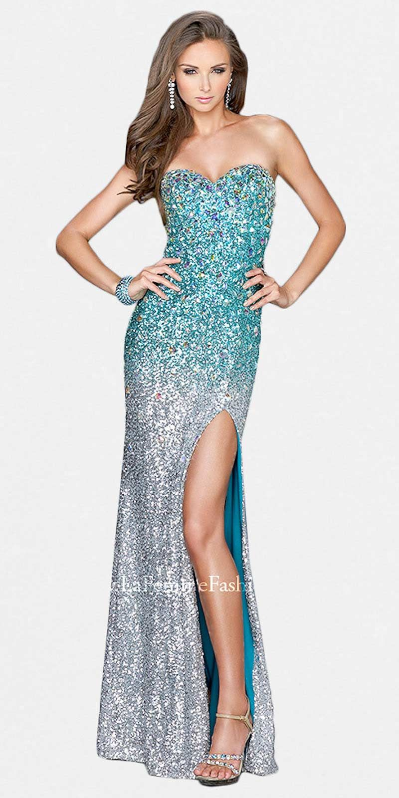 Sexy strapless rhinestone and sequin slit prom dresses by la femme