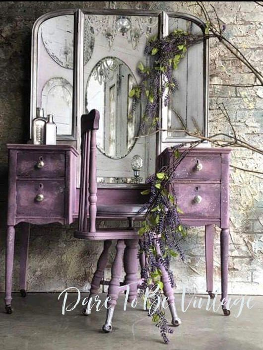 Photo of Vintage Vanity – Shabby Chic Vanity – Vintage Makeup Vanity – Dressing Table – Purple – Painted Vanity – Rustic Elegance by DareToBeVintage from Dare To Be Vintage of Lynnfiled, MA | ATTIC