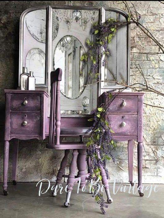 Photo of Vintage Vanity – Shabby Chic Vanity – Vintage Makeup Vanity – Dressing Table – Purple – Painted Vanity – Rustic Elegance by DareToBeVintage from Dare To Be Vintage of Lynnfiled, MA | ATTIC