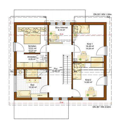 Grundriss einfamilienhaus modern obergeschoss  Grundriss Obergeschoss Plusenergiehaus