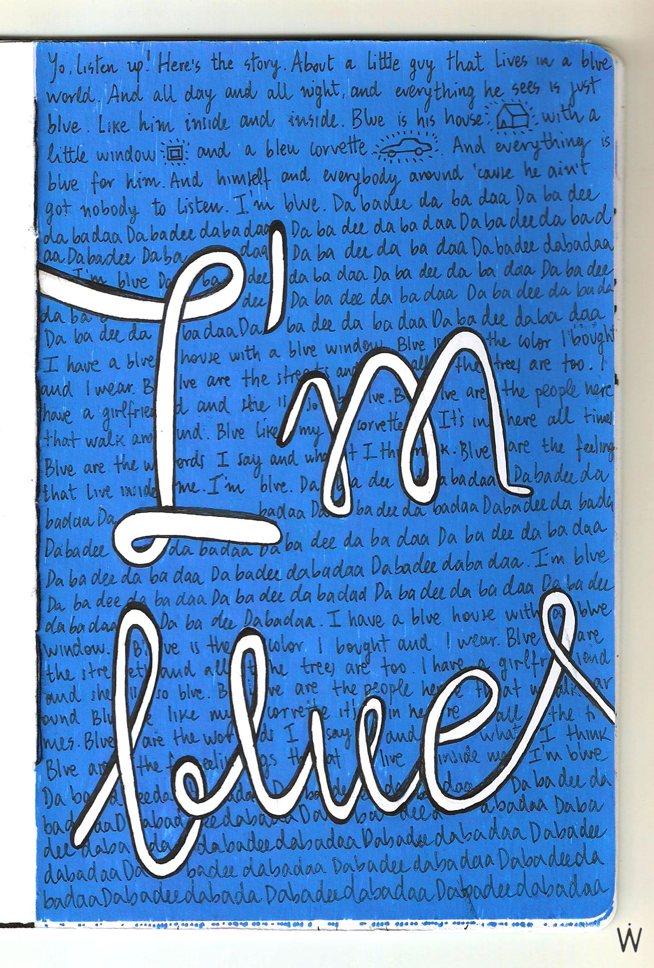 e48014dd25 Eiffel 65 - I m blue  lettering  handmade