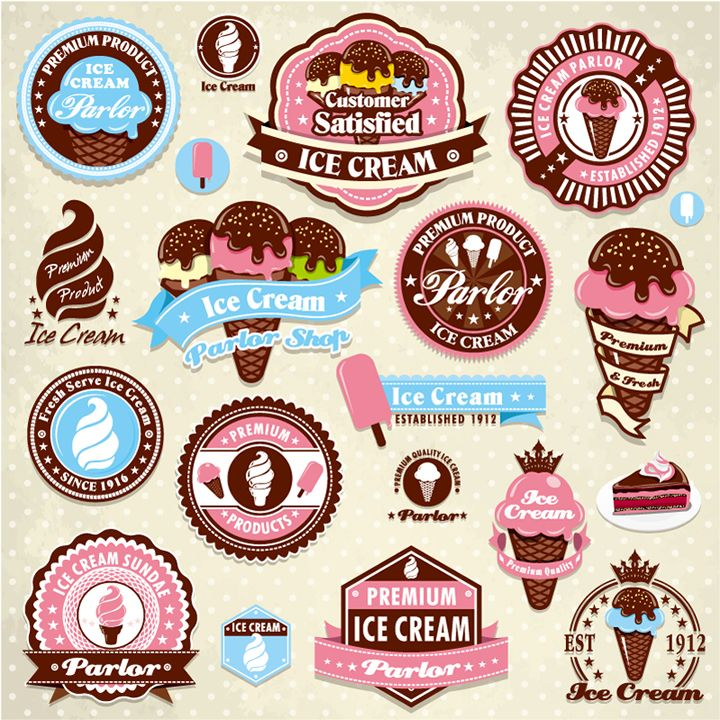 The Colours Look Like Actual Colours Of Ice Cream And The Shapes Of The Logos Are Captivating And Different Ice Cream Logo Vintage Ice Cream Ice Cream Cart