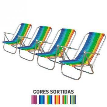 Kit com 4 cadeiras de Praia Botafogo 2 posições em Alumínio - Chapelaria  botafogo cbdefc4fd481b