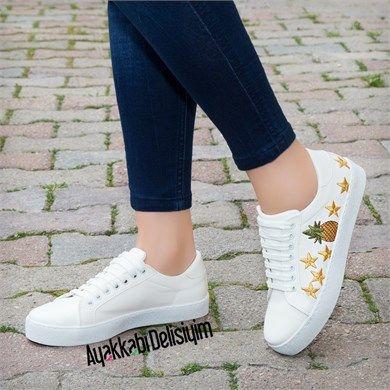 Nayela Yildiz Desenli Beyaz Spor Ayakkabi Ayakkabilar Moda Ayakkabilar Spor