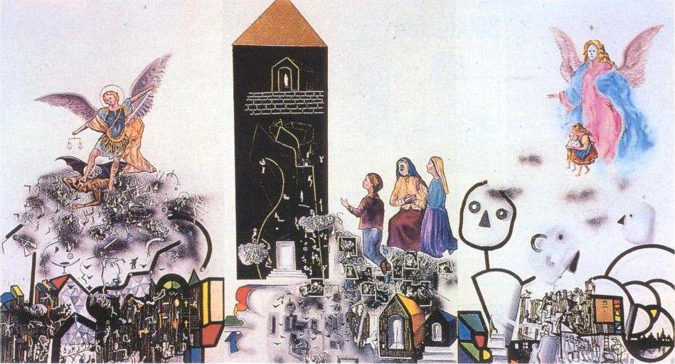 Tríptico de los santos. :: 1988.  175x300cm.  mixta/lienzo  José de León