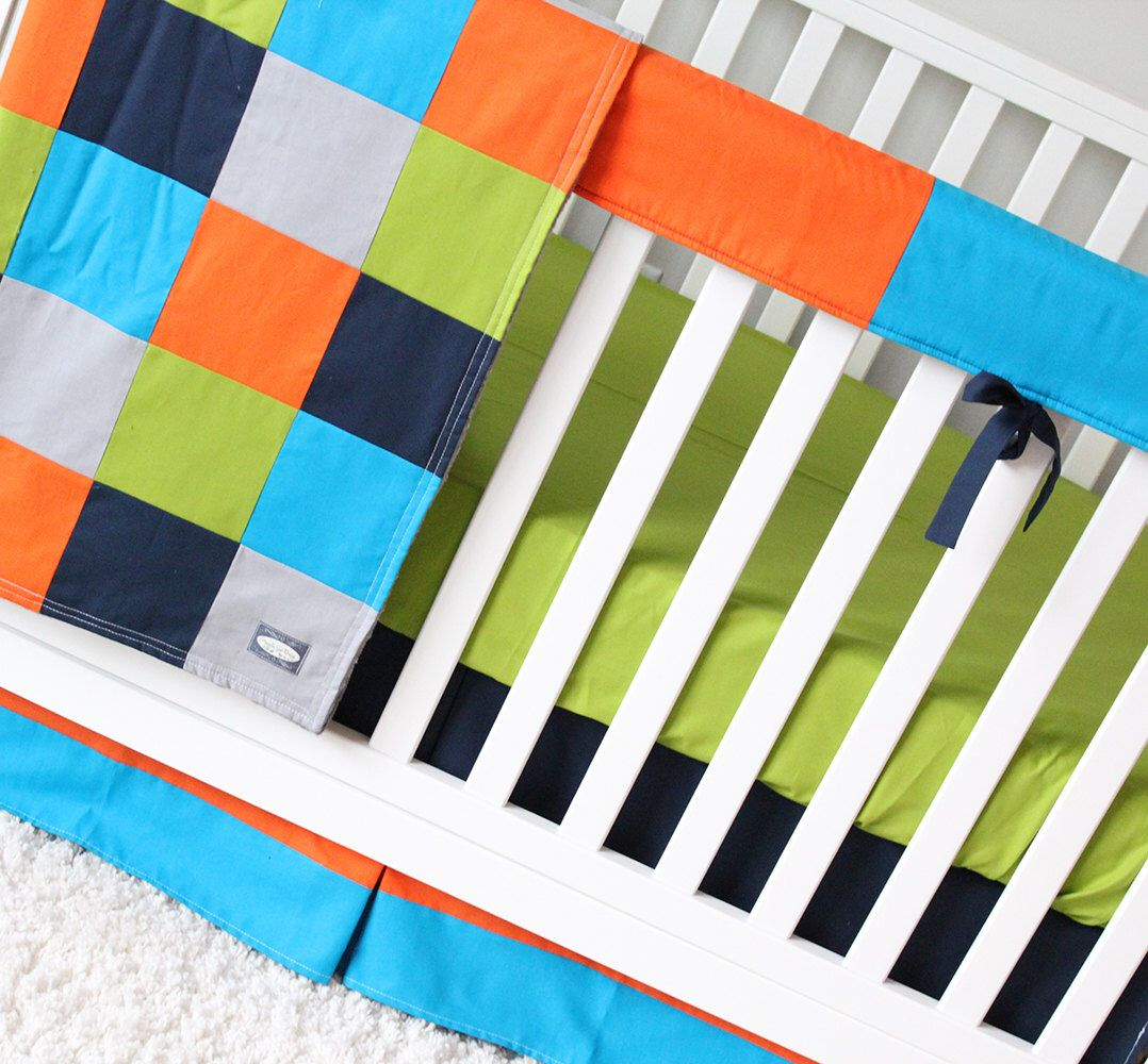 Baby Boy Crib Bedding Set, Orange, Turquoise, Green, Gray, Navy ...