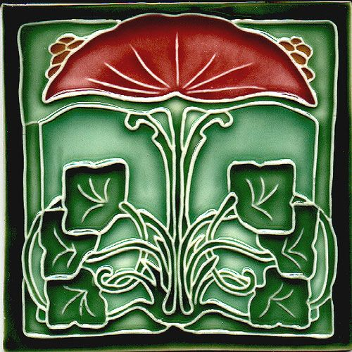 Historic Tiles - Moulded Art Nouveau Tiles - Fan Flower Green