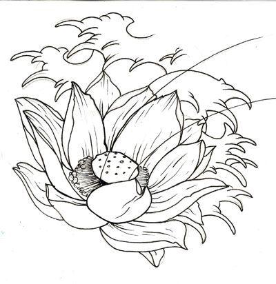 Cool Black Outline Japanese Lotus Flower Tattoo Design 01 Lotus