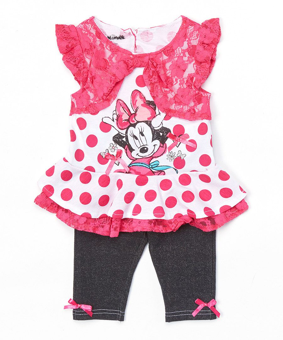 2e829e06c2a5 Look at this Pink Polka Dot Minnie Mouse Tunic   Jeggings - Toddler on  zulily  today!