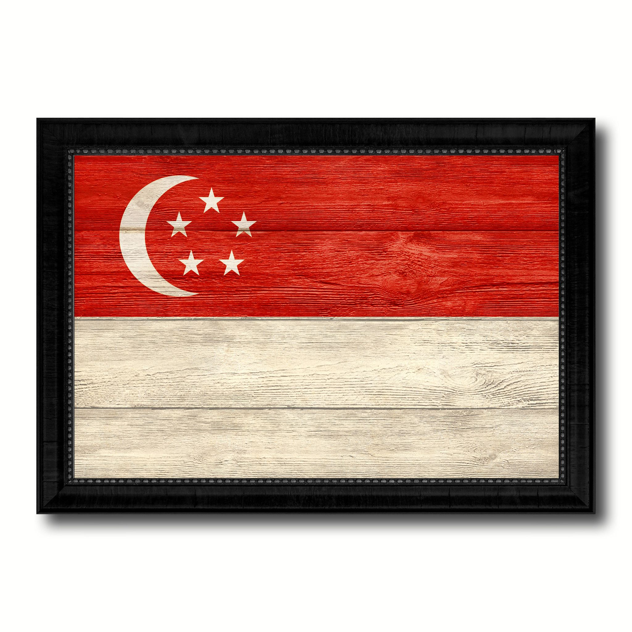 Home interiors and gifts framed art - Singapore Country Flag Texture Canvas Print With Black Picture Frame Home Decor Wall Art Decoration Collection Gift Ideas