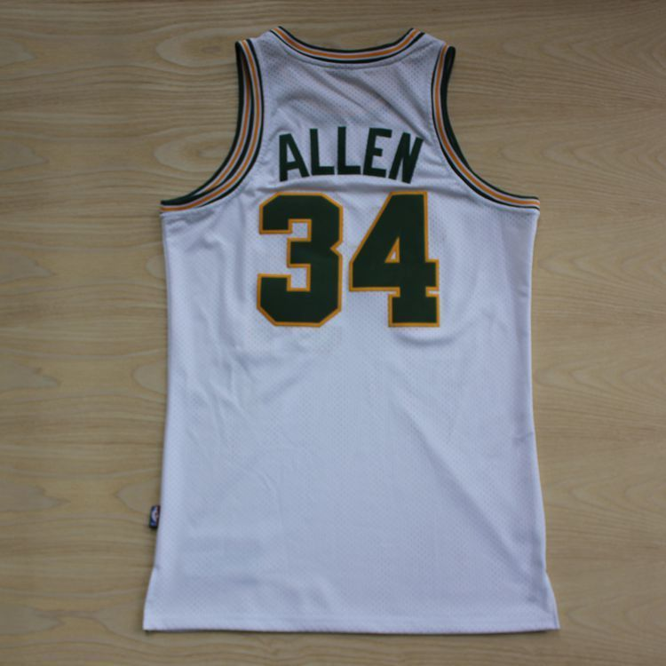 Aliexpress.com   Buy Seattle Supersonics  34 Ray Allen White Throwback  Retro Vintage Basketball jersey 26732f163