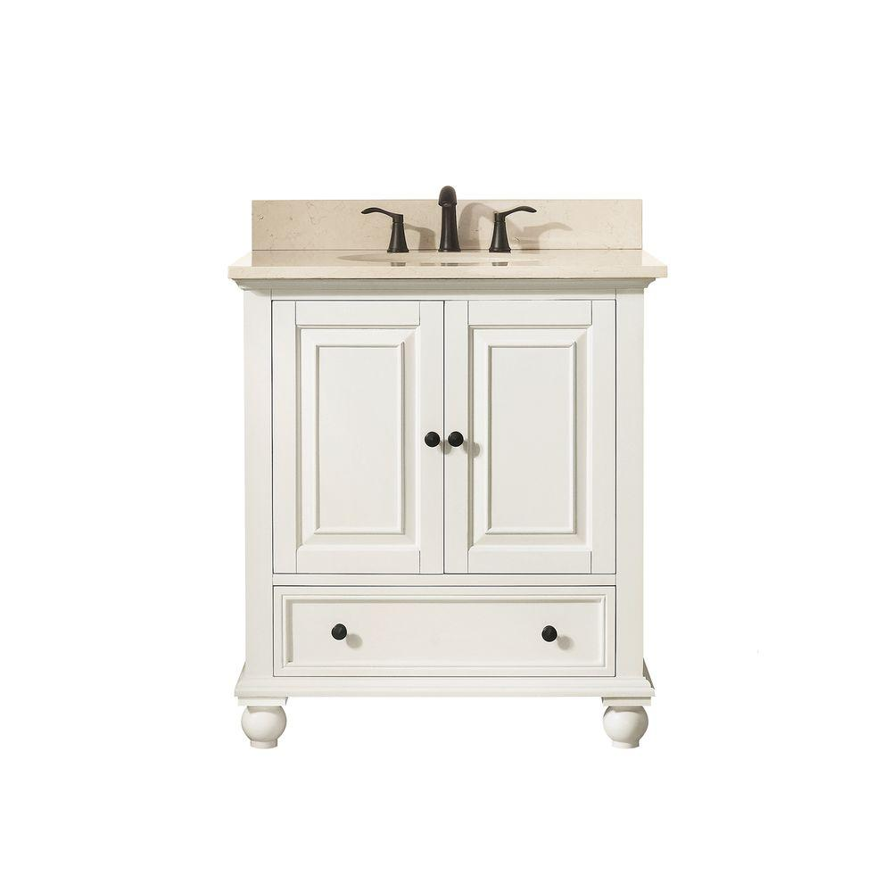 Avanity Thompson 31 In W X 22 In D X 35 In H Vanity In French White With Marble Vanity Top In Galala Beige With Basin Thompson Vs30 Fw B With Images Marble Vanity Tops