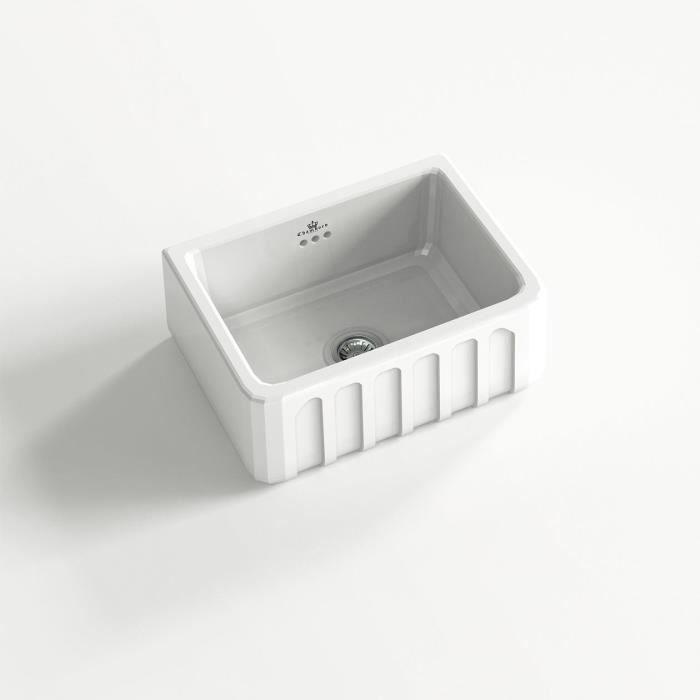 Évier céramique à poser VICTORIA 1 bac blanc (u2026 - evier cuisine ceramique a poser