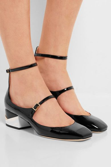 7efd379bb66 Jimmy Choo Wilbur patent-leather pumps. White, gold and black heel measures  approximately 40mm/ 1.5 inches Black patent-leather Buckle-fastening straps  Made ...
