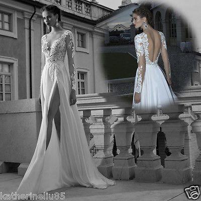 Sexy Lace Deep V-neck Long Sleeve Beach Wedding Dresses Bridal Dress / Side Slit